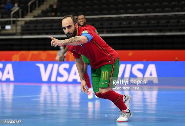 Ricardinho of Portugal celebrates after scoring their team's first goal during the FIFA Futsal World Cup 2021 Round of 16 match between Portugal and...