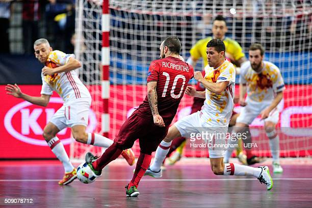 Ricardinho of Portugal in action during the UEFA Futsal EURO 2016 quarter final match between Portugal and Spain at Arena Belgrade on February 8 2016...