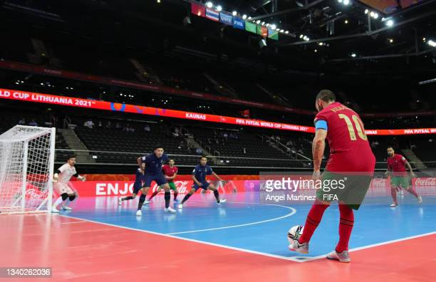 Ricardinho of Portugal kicks a corner during the FIFA Futsal World Cup 2021 group C match between Thailand and Portugal at Kaunas Arena on September...