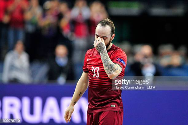 Ricardinho of Portugal looks dejected after his team lose their match during the UEFA Futsal EURO 2016 quarter final match between Portugal and Spain...