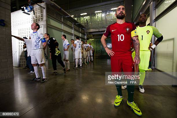 Ricardinho of Portugal looks on before entering the pitch for the FIFA Futsal World Cup Group A match between Portugal and Uzbekistan at Coliseo Ivan...