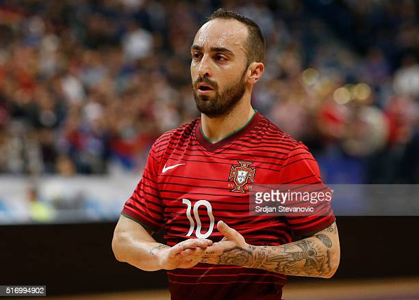Ricardinho of Portugal looks on during the FIFA Futsal World Cup playoff match between Serbia and Portugal at Kombank Arena on March 22 2016 in...