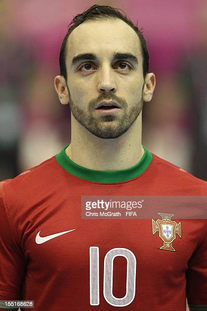 Ricardinho of Portugal sings the national anthem during the FIFA Futsal World Cup Group C match between Libya and Portugal at Korat Chatchai Hall on...