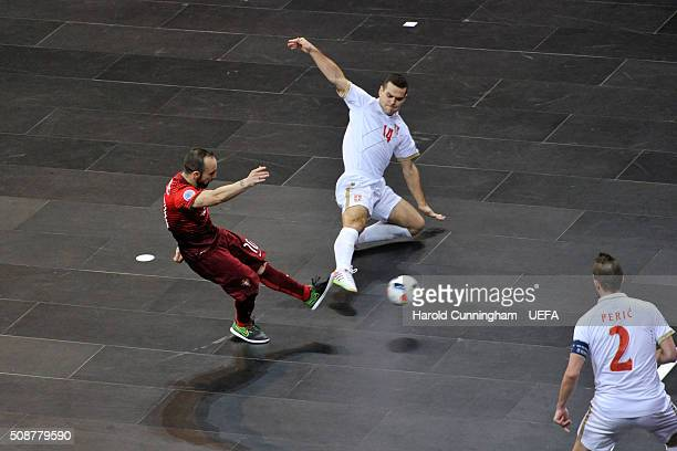 Ricardinho of Portugal Slobodan Rajcevic and Marko Peric of Serbia in action during the UEFA Futsal EURO 2016 match between Portugal and Serbia at...
