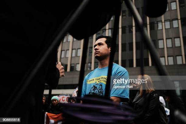 Ricardo Aca a Dreamer from Mexico participates in a demonstration with other recent immigrants to America to protest the government shutdown and the...