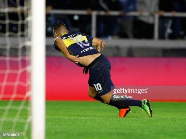 Ricardo Adrian Centurion of Boca Juniors celebrates after scoring the second goal of his team during a match between Aldosivi and Boca Juniors as...