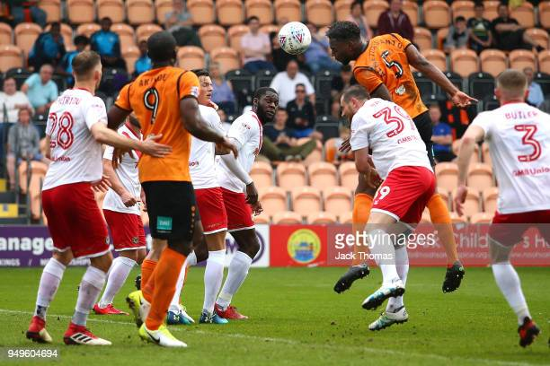 Ricardo Almeida Santos of Barnet FC scores his teams second goal during the Sky Bet League Two match between Barnet FC and Newport County at The Hive...