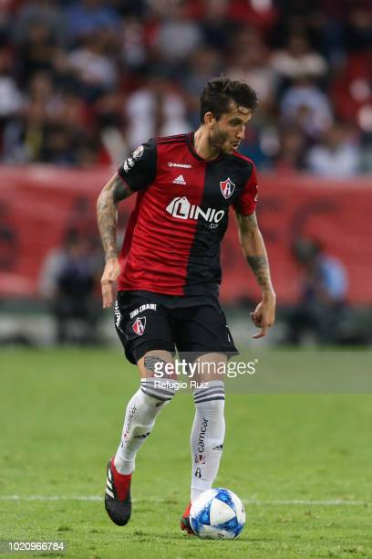 Ricardo Alvarez of Atlas drives the ball during the fifth round match between Atlas and Morelia as part of the Torneo Apertura 2018 Liga MX at...