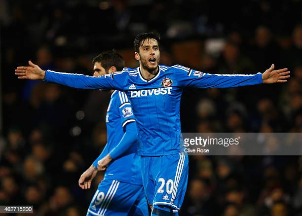 Ricardo Alvarez of Sunderland celebrates scoring his team's second goal during the FA Cup Fourth Round Replay match between Fulham and Sunderland at...