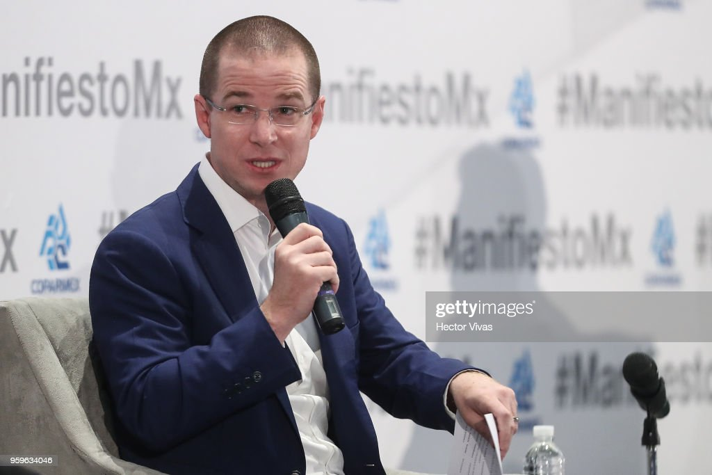 Ricardo Anaya, 'Mexico al Frente' Coalition presidential candidate, speaks during a conference as part of the 'Dialogues: Mexico Manifesto' Event at Hilton Hotel on May 16, 2018 in Mexico City, Mexico.