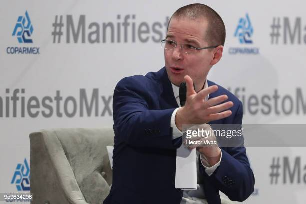 Ricardo Anaya 'Mexico al Frente' Coalition presidential candidate speaks during a conference as part of the 'Dialogues Mexico Manifesto' Event at...