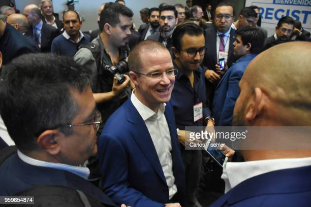 Ricardo Anaya 'Mexico al Frente' Coalition presidential candidate greets a supporter during a conference as part of the 'Dialogues Mexico Manifesto'...