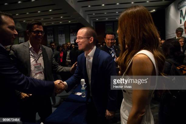 Ricardo Anaya 'Mexico al Frente' Coalition presidential candidate greets supporters with his wife Carolina Martinez during a conference as part of...