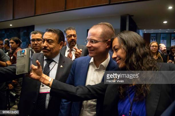 Ricardo Anaya 'Mexico al Frente' Coalition presidential candidate poses for selfies with supporters during a conference as part of the 'Dialogues...