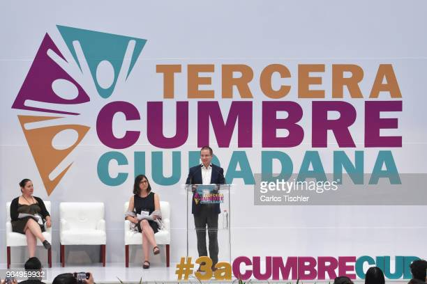 Ricardo Anaya 'Mexico al Frente' Coalition presidential candidate speaks during the third 'Cumbre Ciudadana' a debate organized by a group of CSOs at...