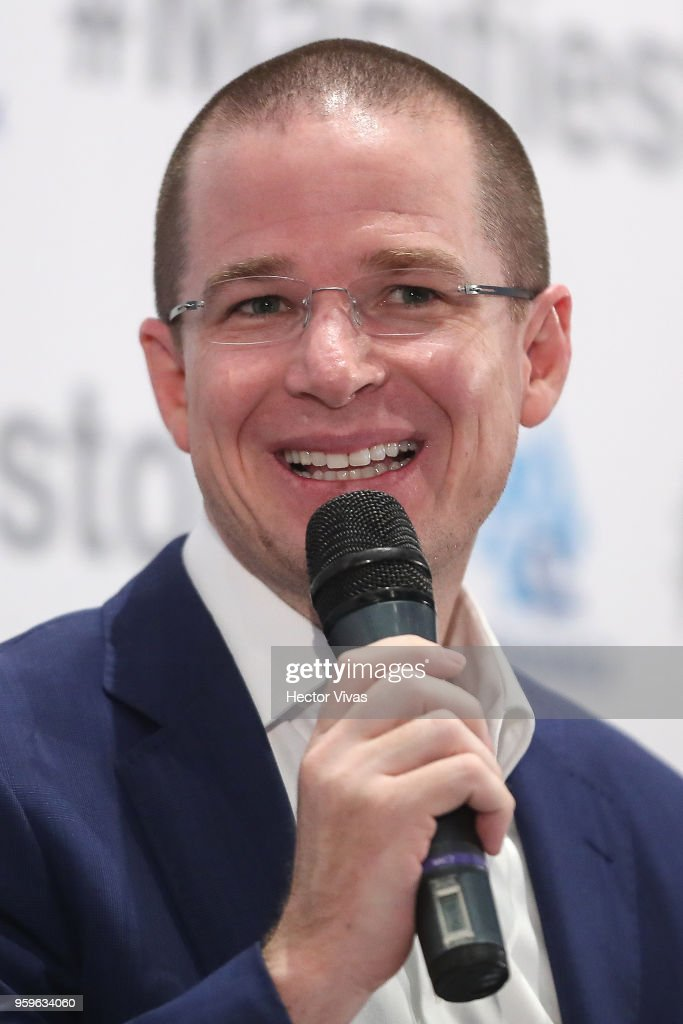 Ricardo Anaya, PAN Political party presidential candidate, speaks during a conference as part of the 'Dialogues: Mexico Manifesto' Event at Hilton Hotel on May 16, 2018 in Mexico City, Mexico.