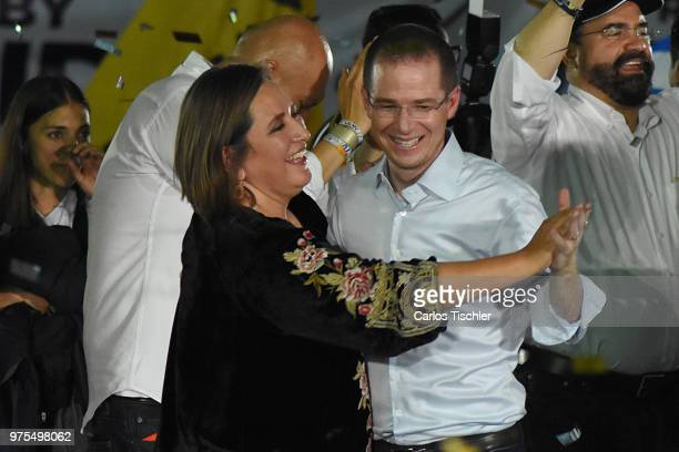 Ricardo Anaya Presidential candidate for Mexico to the Front Coalition dances with candidate Xochitl Galvez during a Civic Gathering as part of...