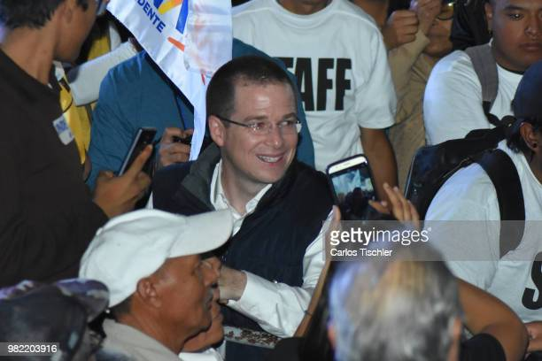 Ricardo Anaya presidential candidate For Mexico to the Front coalition speaks during an election campaign event at Nezahualcoyotl City Hall on June...