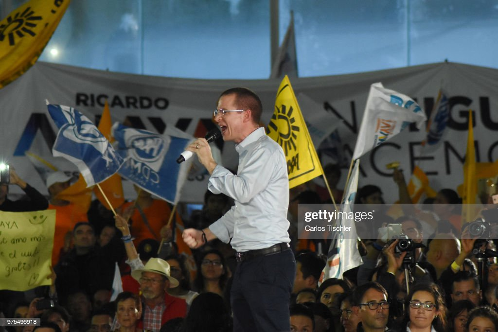 Ricardo Anaya, Presidential candidate for Mexico to the Front Coalition speaks during a Civic Gathering as part of Ricardo Anaya's election campaign at Deportivo Plan Sexenal on June 13, 2018 in Mexico City, Mexico.