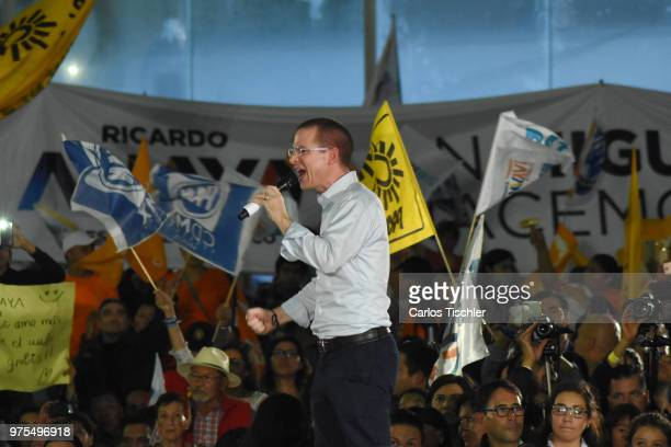 Ricardo Anaya Presidential candidate for Mexico to the Front Coalition speaks during a Civic Gathering as part of Ricardo Anaya's election campaign...