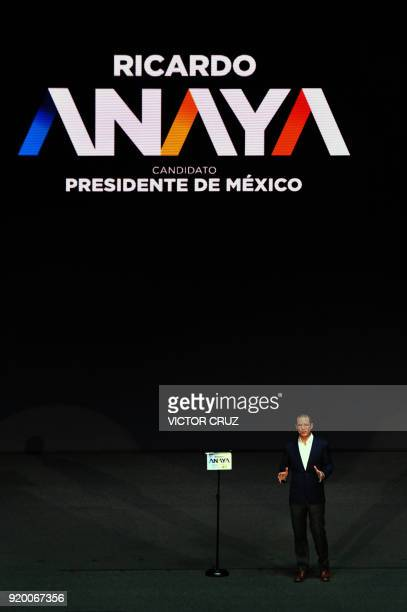 Ricardo Anaya presidential candidate for the 'Mexico al Frente' Coalition speaks to thousands of supporters in the national auditorium on February 18...