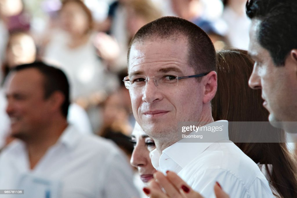 Ricardo Anaya, presidential candidate for the National Action Party (PAN), looks on during his final campaign rally in Guanajuato, Mexico, on Wednesday, June 27, 2018. With just four short days before what's likely to be a historic presidential election in Mexico, were about to enter a blackout period. It's the last day for political advertising, campaign events and publishing new polls. Photographer: Mauricio Palos/Bloomberg via Getty Images