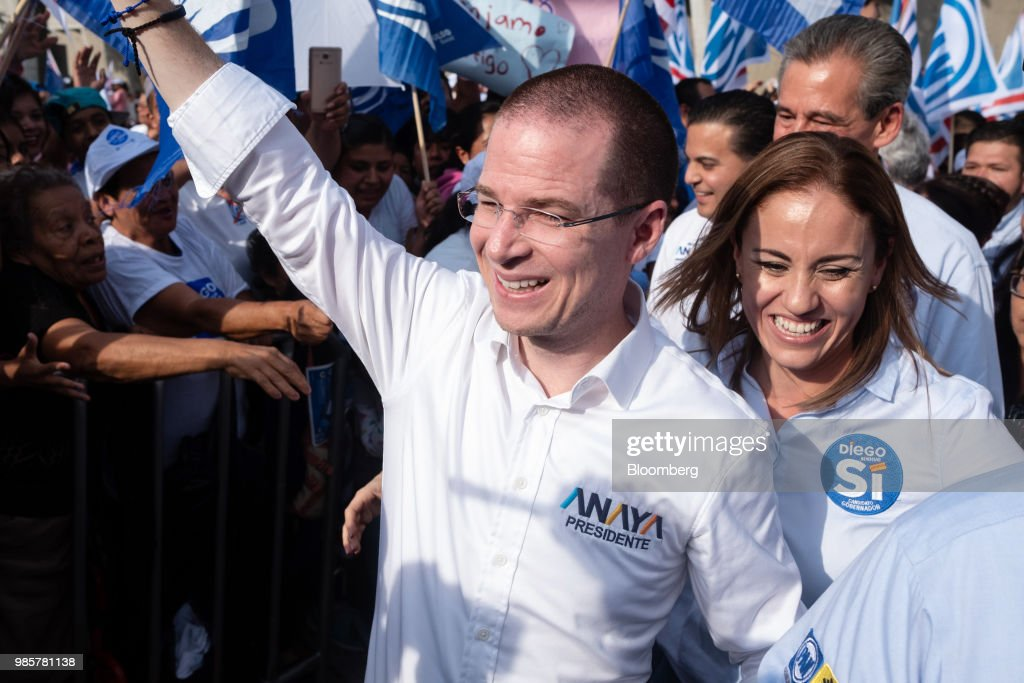 Ricardo Anaya, presidential candidate for the National Action Party (PAN), arrives at his final campaign rally in Guanajuato, Mexico, on Wednesday, June 27, 2018. With just four short days before what's likely to be a historic presidential election in Mexico, were about to enter a blackout period. It's the last day for political advertising, campaign events and publishing new polls. Photographer: Mauricio Palos/Bloomberg via Getty Images