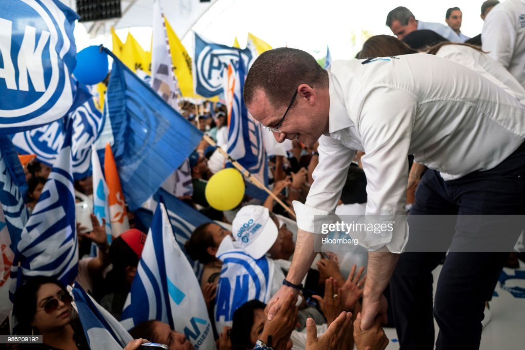 Ricardo Anaya, presidential candidate for the National Action Party (PAN), greets supporters at the final campaign rally in Guanajuato, Mexico, on Wednesday, June 27, 2018. With just four short days before whats likely to be a historic presidential election in Mexico, were about to enter a blackout period. Its the last day for political advertising, campaign events and publishing new polls. Photographer: Mauricio Palos/Bloomberg via Getty Images