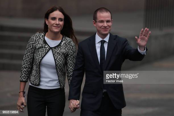 Ricardo Anaya presidential candidate of the Coalition For Mexico to the Front arrives with his wife Carolina Martinez to the first Presidential...