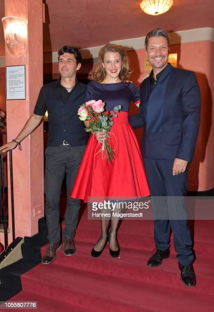 Ricardo Angelini, Eva-Maria Grein von Friedl and Hardy Krueger Jr. Attend the premiere of the theatre play 'Arthur & Claire' at Komoedie im...