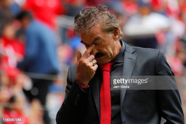 Ricardo Antonio La Volpe coach of Toluca gestures during the 1st round match between Toluca and Queretaro as part of the Torneo Apertura 2019 Liga MX...