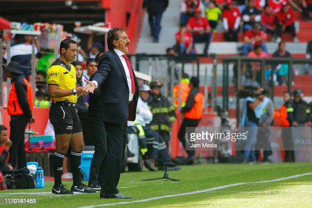 Ricardo Antonio La Volpe coach of Toluca reacts during the 6th round match between Toluca and Tijuana as part of the Torneo Apertura 2019 Liga MX at...