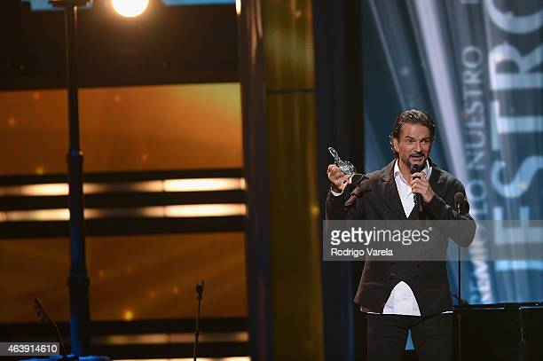 Ricardo Arjona speaks on stage at the 2015 Premios Lo Nuestros Awards at American Airlines Arena on February 19 2015 in Miami Florida