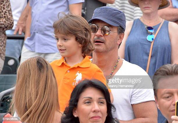 Ricardo Arjona with family is sighted at Miami Open at Crandon Park Tennis Center on April 3 2016 in Key Biscayne Florida