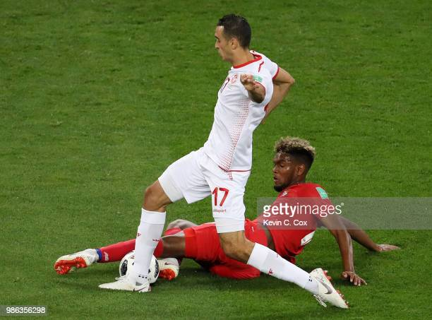 Ricardo Avila of Panama tackles Ellyes Skhiri of Tunisia during the 2018 FIFA World Cup Russia group G match between Panama and Tunisia at Mordovia...