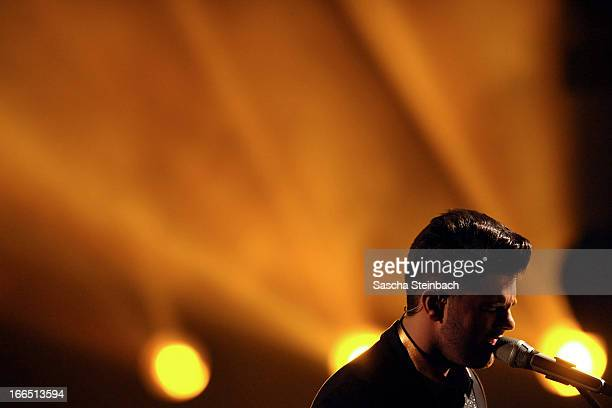 Ricardo Bielecki performs during the rehearsal of the fifth 'Deutschland Sucht Den Superstar' Show at Coloneum on April 13 2013 in Cologne Germany