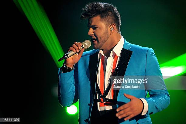 Ricardo Bielecki performs during the rehearsal of the third 'Deutschland sucht den Superstar' Show at Coloneum on March 30 2013 in Cologne Germany