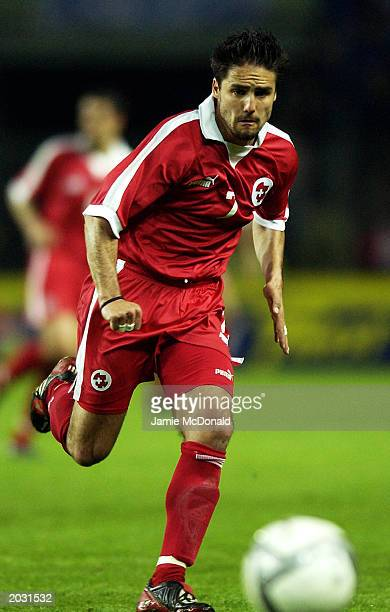 Ricardo Cabanas of Switzerland charges forward during the International Friendly match between Switzerland and Italy held on April 30, 2003 at the...