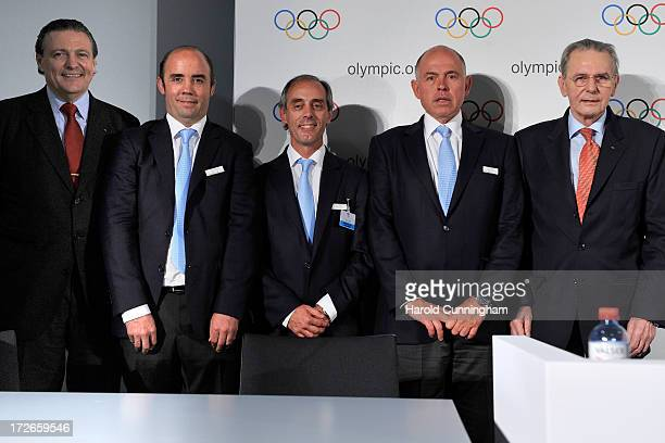 Ricardo Carrion IOC Finance Commission Chairman and IOC Presidential candidate Francisco Irarrazaval Buenos Aires 2018 Chairman Claudio Morresi...
