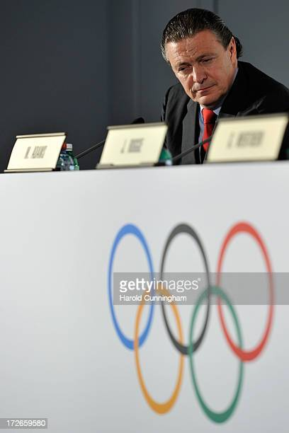 Ricardo Carrion IOC Finance Commission Chairman and IOC Presidential candidate looks on during a press conference following Buenos Aires announcement...