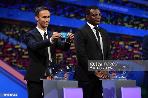 Ricardo Carvalho and Marcel Desailly attend the UEFA Euro 2020 Final Draw Ceremony on November 30 2019 in Bucharest Romania