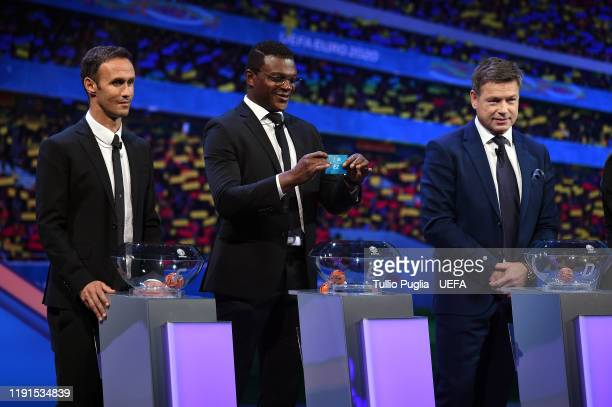 Ricardo Carvalho Marcel Desailly and John Sivebaek attend the UEFA Euro 2020 Final Draw Ceremony on November 30 2019 in Bucharest Romania