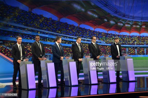 Ricardo Carvalho Marcel Desailly John Sivebaek Theodoros ZagorakisKarel Poborsky and Andrey Arshavin attend the UEFA Euro 2020 Final Draw Ceremony on...