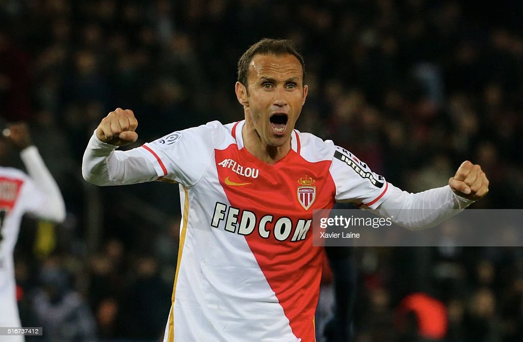 Ricardo Carvalho of AS Monaco celebrates the victory after the French Ligue 1 match between Paris Saint-Germain and AS Monaco at Parc des Princes on march 20, 2016 in Paris, France.