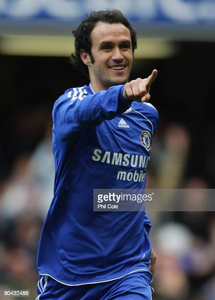 Ricardo Carvalho of Chelsea celebrates as he scores their first goal during the Barclays Premier League match between Chelsea and Middlesbrough at...