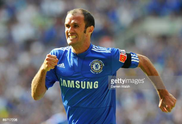 Ricardo Carvalho of Chelsea celebrates as he scores their first goal during the FA Community Shield match between Manchester United and Chelsea at...