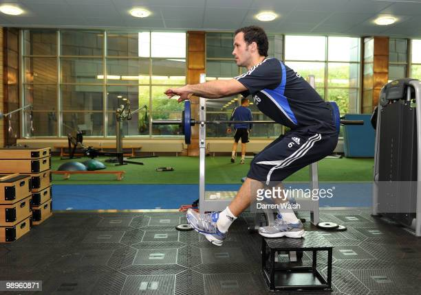 Ricardo Carvalho of Chelsea trains in the gym during a training session at the Cobham training ground on February 26, 2010 in Cobham, England.