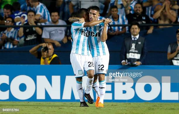 Ricardo Centurión of Racing Club celebrates with teammate Federico Zaracho their team's first goal during a match between Racing Club and Vasco da...