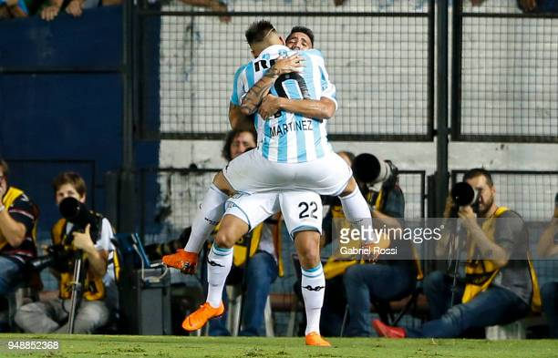 Ricardo Centurión of Racing Club celebrates with teammate Lautaro Martinez after scoring their team's first goal during a match between Racing Club...