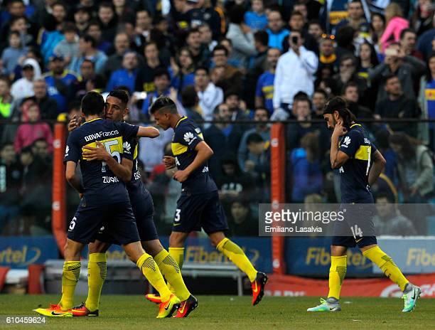 Ricardo Centurion of Boca Juniors celebrates after scoring during a match between Boca Juniors and Quilmes as part of 4th round of Torneo Primera...